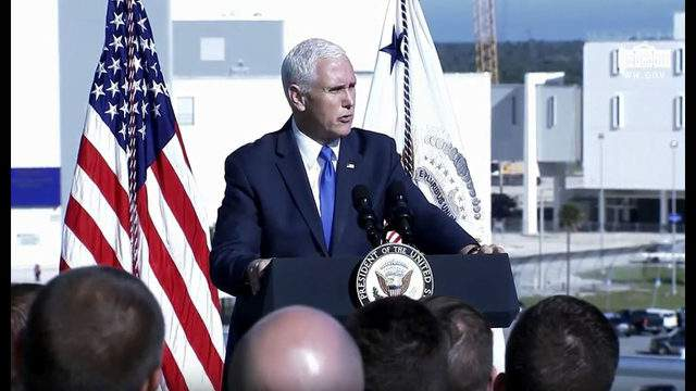Vice President Mike Pence addressing members of the U.S. military at Kennedy Space Center on Dec. 18, 2018.