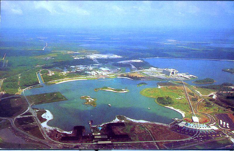 Aerial Image of the still-under construction first phase of Walt Disney World prominently shows the Seven Seas Lagoon in Bay Lake Ca. early 1971