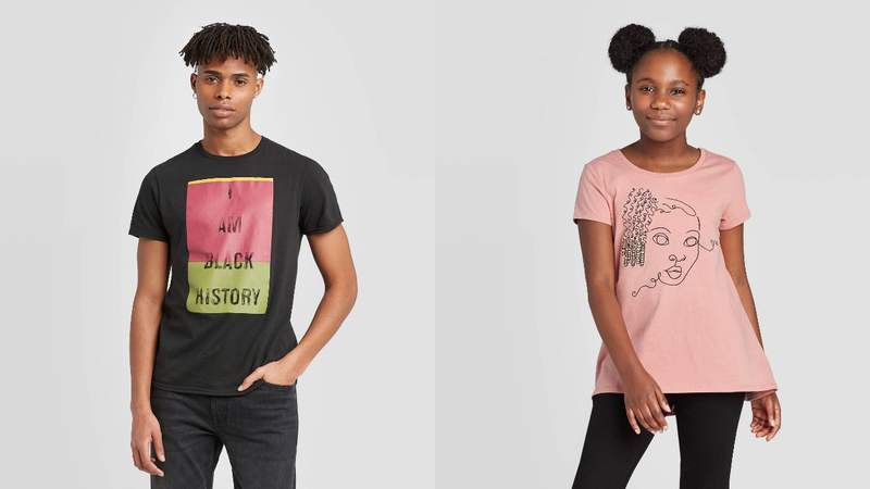 Left: Well Worn Men's I Am Black History Short Sleeve Crewneck T-Shirt. Right: Well Worn Kids' Girl With Braids Short Sleeve Crewneck T-Shirt