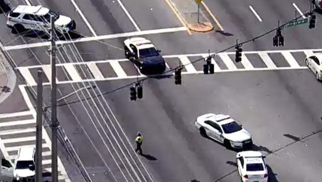 A Sky 6 aerial view of a crash involving a motorcycle and an SUV in Pine Hills on March 16, 2021. (Image: Sky 6/WKMG)