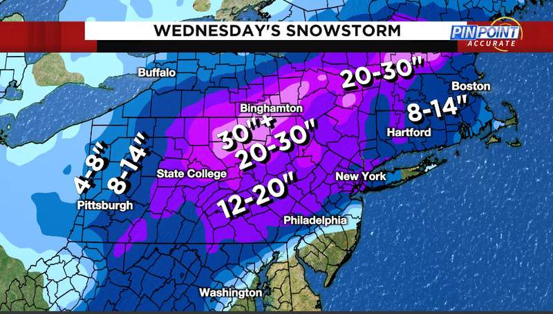Reports of the snow that fell from Wednesday's snowstorm. Parts of New England were still adding to these totals Thursday as the storm exited the coast.