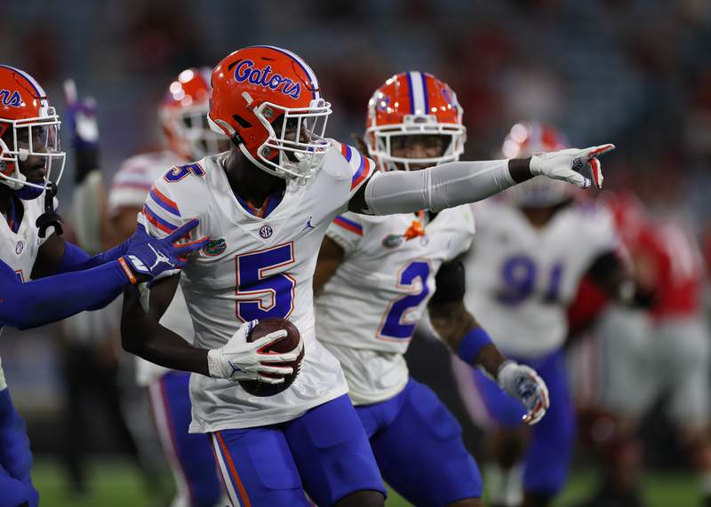Kaiir Elam during the Gators' game against the Georgia Bulldogs on Saturday, November 7, 2020 at EverBank Field in Jacksonville, Fla. / UAA Communications photo by Adler Garfield