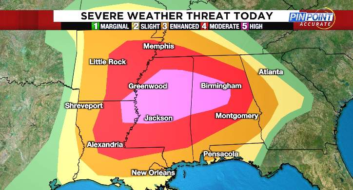 Parts of the Deep South are in highlighted in a rare high risk.