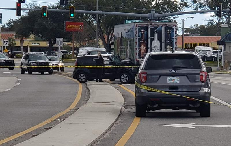 Titusville shooting and crash leaves victim with life-threatening injuries.