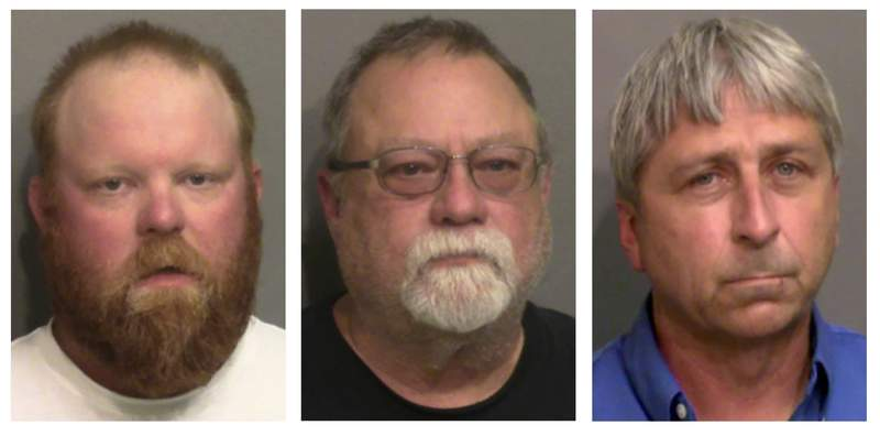 """FILE - This combo of booking photos provided by the Glynn County, Ga., Detention Center, shows from left, Travis McMichael, his father Gregory McMichael, and William """"Roddie"""" Bryan Jr. A Georgia judge says he won't allow attorneys for the men charged with killing Ahmaud Arbery to use evidence of the slain Black man's troubled past when they stand trial for murder. Superior Court Judge Timothy Walmsley said in a written order that the victim's character isn't relevant or admissible in a murder case. Father and son Gregory and Travis McMichael and their neighbor William Roddie Bryan face trial this fall in the February 2020 slaying. (Glynn County Detention Center via AP, File)"""