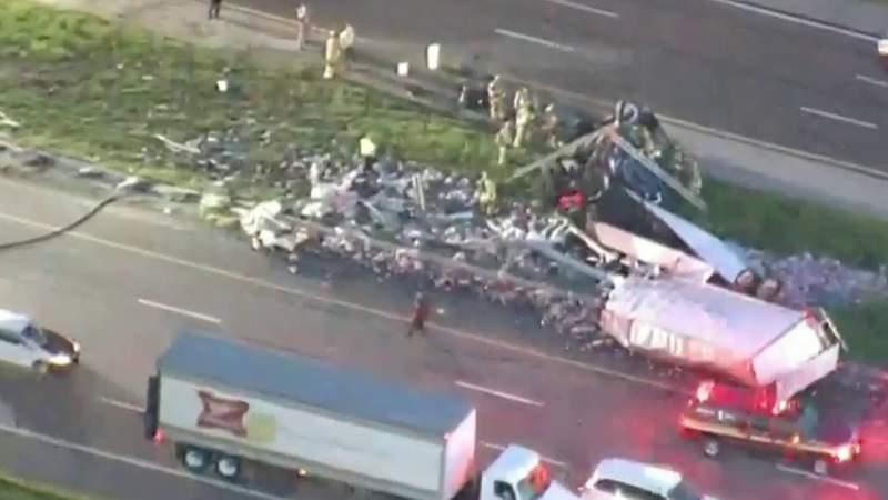 Semi crash on I-4 in Seminole County causes major traffic jam