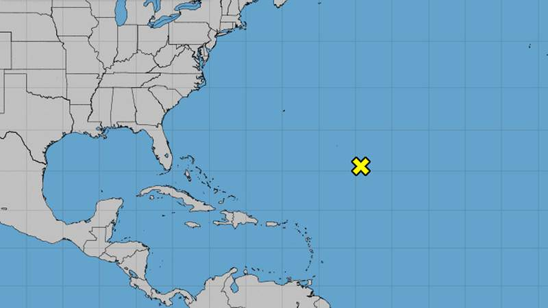 In the Central Atlantic tonight there is an area of disorganized weather.