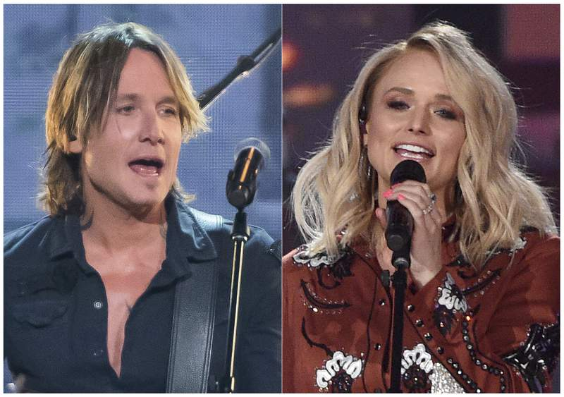 This combination photo shows Keith Urban performing at the 52nd annual CMA Awards in Nashville, Tenn. on Nov. 14, 2018, left, and Miranda Lambert performing at the 54th annual Academy of Country Music Awards in Las Vegas on April 7, 2019. The Academy of Country Music said their April 5 awards show will still go on at the MGM Garden Arena in Las Vegas, but they are monitoring the spread of the coronavirus. The show announced Wednesday that host and reigning ACM entertainer of the year, Keith Urban will perform on the show, airing live on CBS, as well as nominee Miranda Lambert. For most people, the new coronavirus causes only mild or moderate symptoms, such as fever and cough. For some, especially older adults and people with existing health problems, it can cause more severe illness, including pneumonia. The vast majority of people recover from the new virus. According to the World Health Organization, people with mild illness recover in about two weeks, while those with more severe illness may take three to six weeks to recover.  (AP Photo)