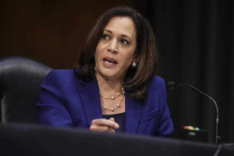 Sen. Kamala Harris, D-Calif., speaks during a Senate Judiciary Committee hearing on police use of force and community relations on on Capitol Hill, Tuesday, June 16, 2020 in Washington. (Jonathan Ernst/Pool via AP)