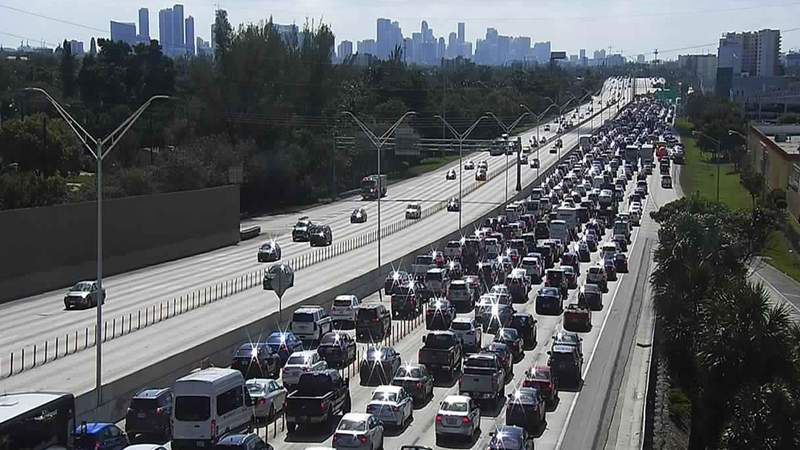 Traffic backed up after a crash in the southbound lanes of I-95 in Miami-Dade County.