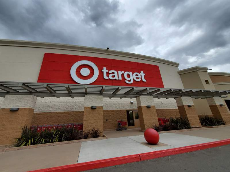 Logo is visible on facade at Target retail store under dramatic sky in San Ramon, California, May 30, 2020. (Photo by Smith Collection/Gado/Getty Images)
