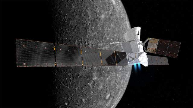 Artist's impression of the BepiColombo spacecraft in cruise configuration, with Mercury in the background. On its 7.2 year journey BepiColombo will fly by Earth once, Venus twice and Mercury six times before entering into orbit. (Image: spacecraft: ESA/ATG medialab; Mercury: NASA/JPL)