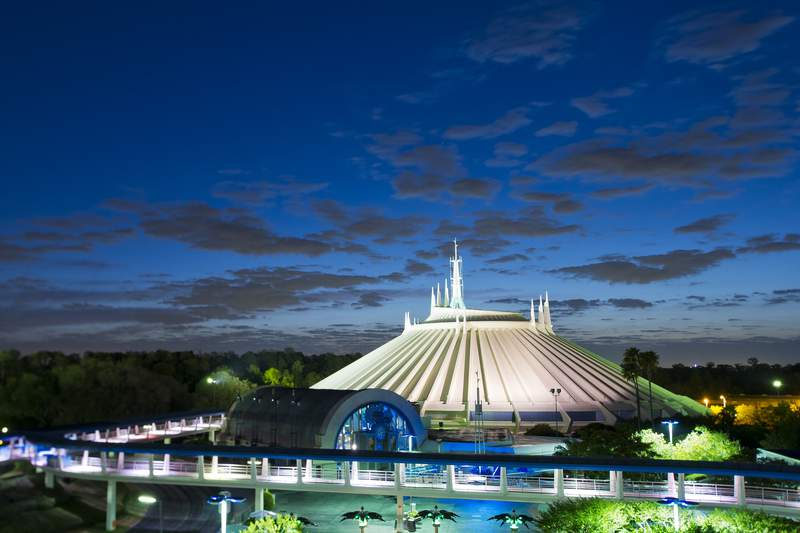 Rising 183 feet above the futuristic Tomorrowland scenery, Space Mountain has taken millions of Magic Kingdom Park guests on a thrilling roller coaster ride through the cosmos since it opened at Walt Disney World Resort in 1975. (Matt Stroshane, photographer)