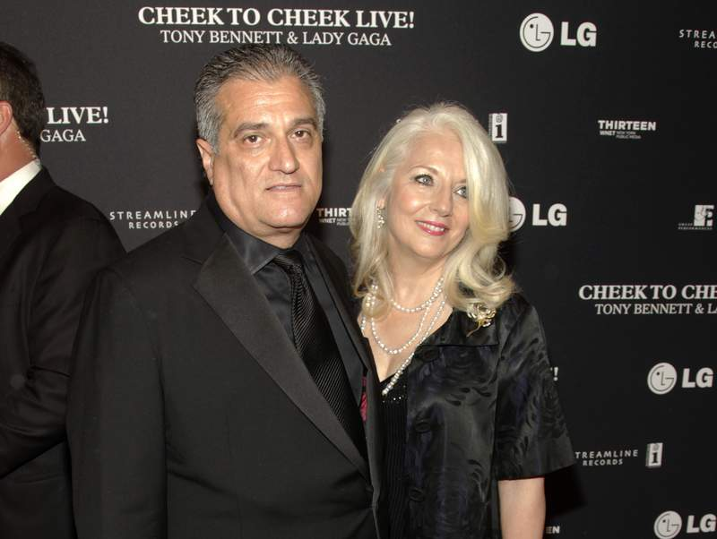FILE - This July 28, 2014 file photo shows Joe Germanotta, left, and Cynthia Germanotta at a Tony Bennett and Lady Gaga concert taping in New York. Joe Germanotta, father of singer-actress Lady Gaga, is refusing to pay $260,000 in rent and fees for his restaurant at New York City's Grand Central Terminal, saying the homeless population is hurting his business. Owner of Art Bird & Whiskey Bar, Germanotta said he wants the Metropolitan Transit Authority, which oversees the busy commuter train station, to renegotiate his rent or release him from his lease, which expires in 2028. (Photo by Andy Kropa/Invision/AP, File)