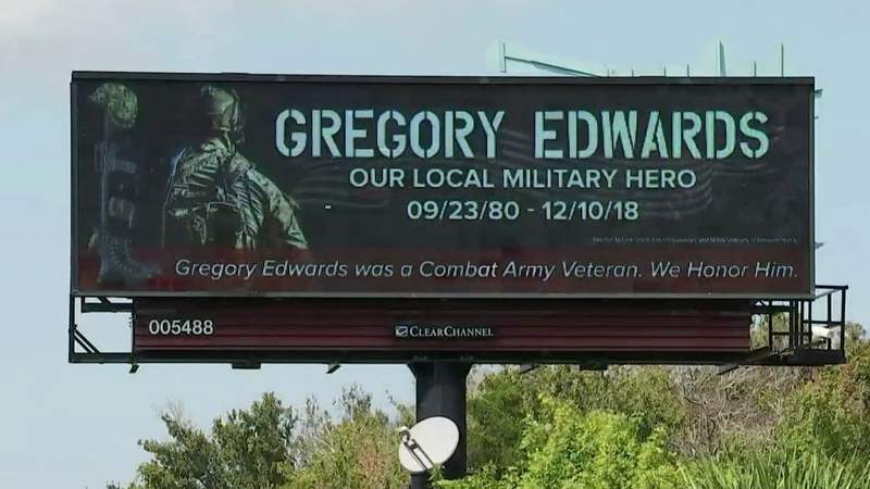 Billboards honor combat veteran Gregory Edwards who died in custody