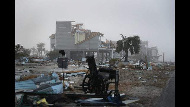 MEXICO BEACH, FL - OCTOBER 17:  Destroyed houses sit in debris and rubble in the aftermath of Hurricane Michael on October 17, 2018 in Mexico Beach, Florida. The hurricane hit on October 10 along the Florida Panhandle as a category 4 storm causing massive damage and claimed the lives of more then a dozen people.  (Photo by Joe Raedle/Getty Images)