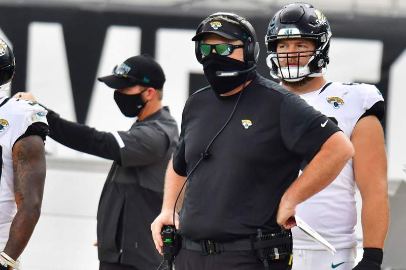 Doug Marrone of the Jacksonville Jaguars  looks on during the first quarter against the Indianapolis Colts at TIAA Bank Field on September 13, 2020 in Jacksonville, Florida. (Photo by Julio Aguilar/Getty Images)