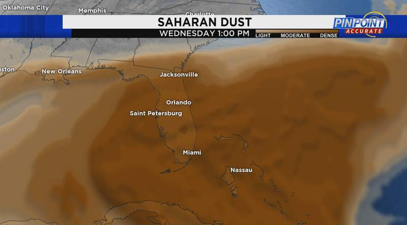 Saharan dust forecast for Wednesday. The dust could arrive starting Monday and become more prolific for Florida by the middle of the week.