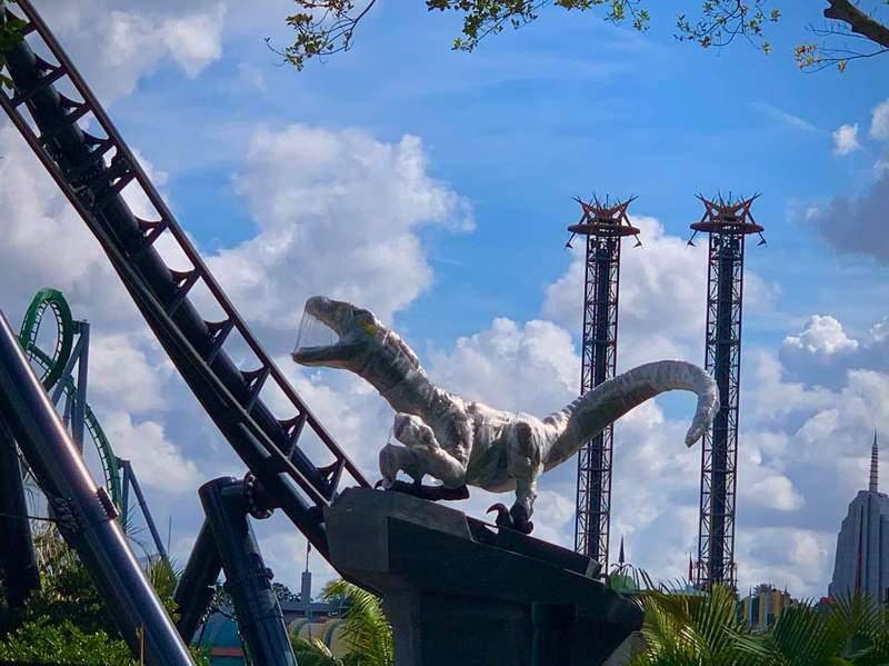 New statue installed at Jurassic World: Velocicoaster