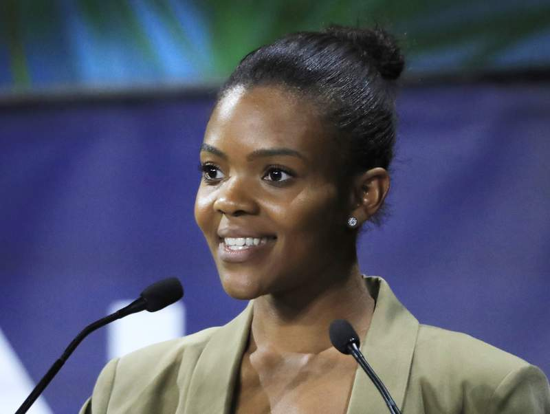 FILE - Conservative commentator Candace Owens speaks at the Convention of the Right, in Paris on Sept. 28, 2019. A publishing division started by the conservative media company the Daily Wire will include releases by Owens, Daily Wire co-founder Ben Shapiro and former Mandalorian actor Gia Carano. DW Books will officially launch next spring, the Nashville-based Daily Wire announced Wednesday. (AP Photo/Michel Euler, File)