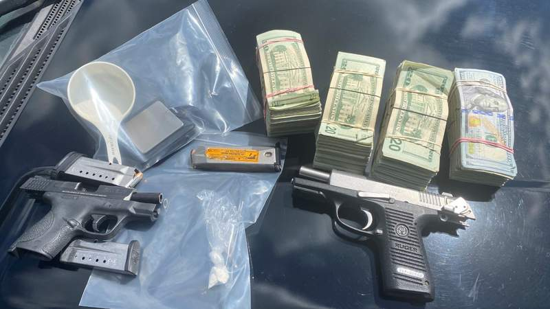 Drugs, guns and cash seized during a traffic stop on Interstate 75 in Sumter County.