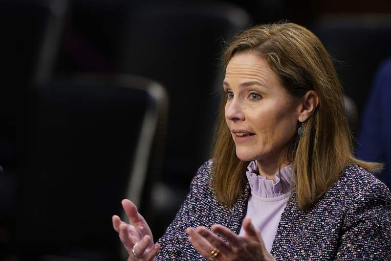 Supreme Court nominee Amy Coney Barrett speaks during a confirmation hearing before the Senate Judiciary Committee, Wednesday, Oct. 14, 2020, on Capitol Hill in Washington. (AP Photo/Susan Walsh, Pool)