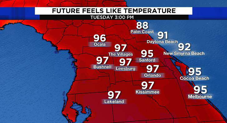 Feels like temperatures Tuesday