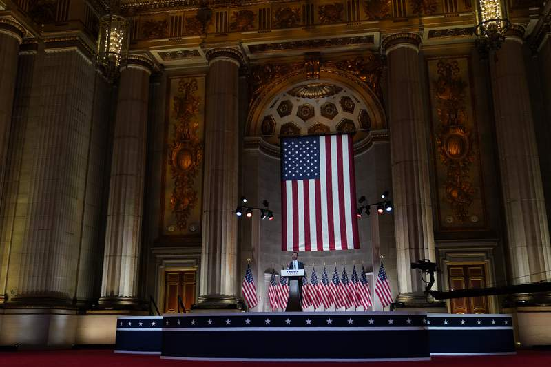 Donald Trump Jr., speaks as he tapes his speech for the first day of the Republican National Convention from the Andrew W. Mellon Auditorium in Washington, Monday, Aug. 24, 2020. (AP Photo/Susan Walsh)