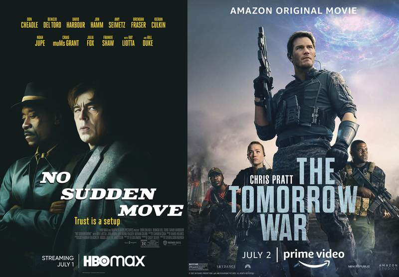 """This combination of photos shows promotional art for """"No Sudden Move,"""" streaming July 1 on HBO Max, left, and """"The Tomorrow War,"""" streaming July 2 on Amazon Prime. (HBO Max via AP, left, and Amazon via AP)"""