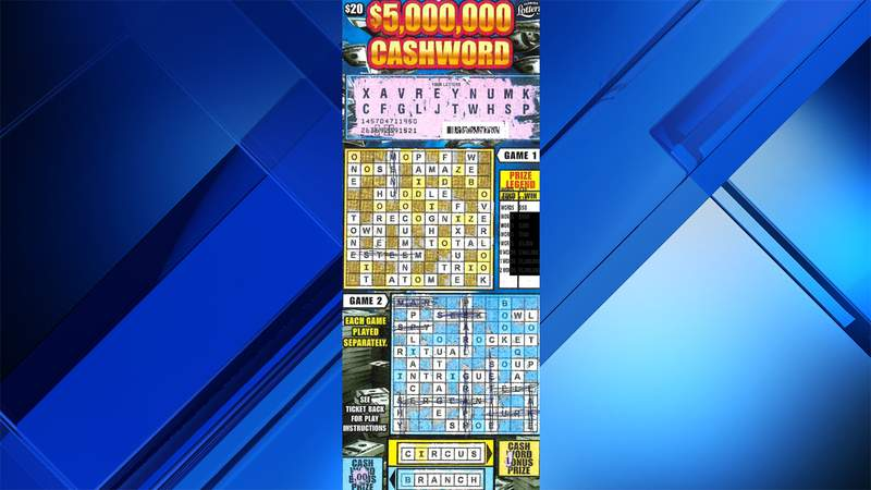 The $5,000,000 CASHWORD Scratch-Off game tickets are $20. The game launched in May 2020 and features eight top prizes of $5 million and 24 second tier prizes of $1 million.