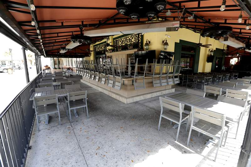 In this Thursday, March 19, 2020 photo, this restaurant and others in The Villages, Fla., are closed due to the coronavirus through the end of the month. Living in what is perhaps the largest concentration of seniors in the U.S., residents had gone about their busy lives until this week,. (AP Photo/John Raoux)