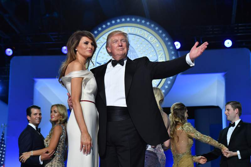 President Donald Trump and First Lady Melania Trump dance at the Freedom Ball on Jan. 20, 2017 in Washington, D.C. Trump attended a series of balls to cap his Inauguration Day.