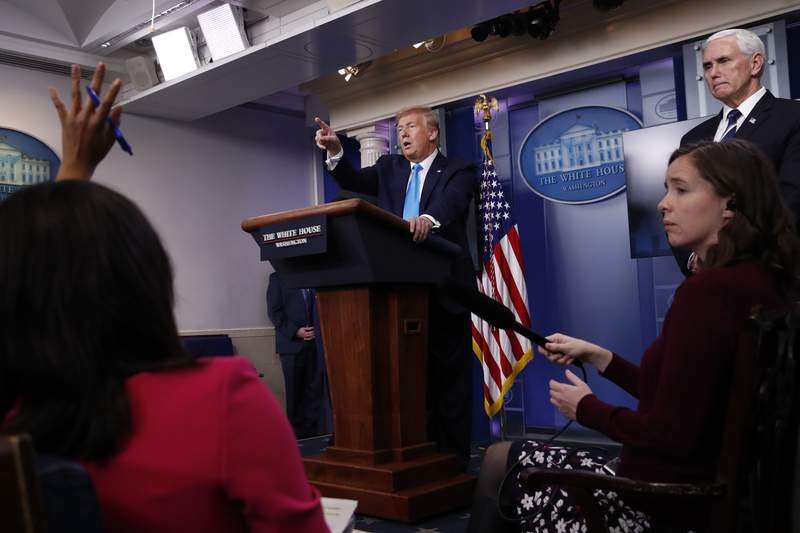 In this April 7, 2020, photo, President Donald Trump calls on a reporter for a question as he speaks about the coronavirus in the James Brady Press Briefing Room of the White House in Washington. First, it was the media that was at fault. Then, Democratic governors came under fire. China, President Barack Obama and federal watchdogs have all had a turn in the crosshairs. And now its the World Health Organization that's to blame.  (AP Photo/Alex Brandon)