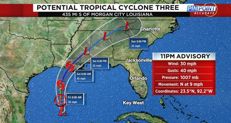 The disturbance that has been meandering in the Southern Gulf of Mexico/Bay of Campeche for the last several days has been designated as Potential Tropical Cyclone 3.