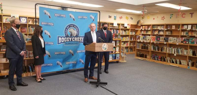 Florida education Commissioner Richard Corcoran on Monday, Nov. 30, 2020 at Boggy Creek Elementary in Kissimmee, Fla. (Image: Jeff Segers/WKMG)
