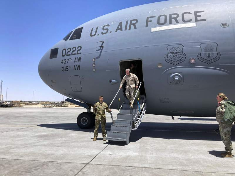 In this Thursday, May 20, 20201, photo Marine Gen. Frank McKenzie, the top U.S. commander for the Middle East, arrives in Baghdad. (AP Photo/Lolita C. Baldor)