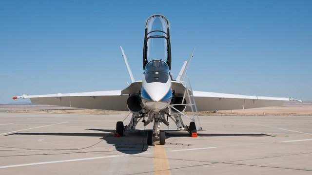 An F-18 research aircraft, pictured here, taxiing to the runway from NASA's Armstrong Flight Research Center in Edwards, Calif.