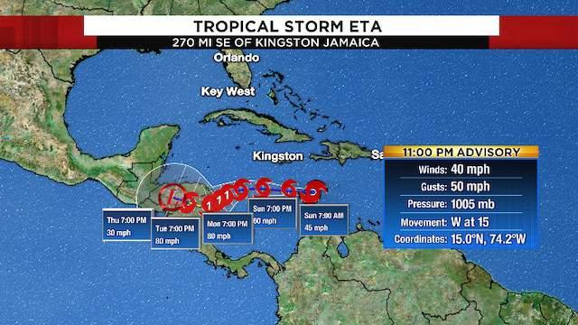 11 p.m. advisory information for Tropical Storm Eta on Saturday, Oct. 31, 2020.