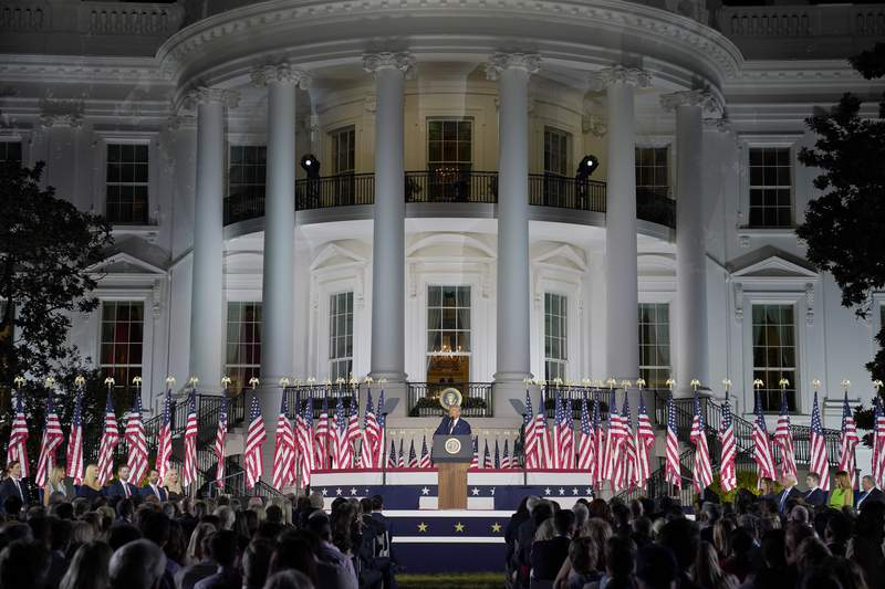 President Donald Trump speaks from the South Lawn of the White House on the fourth day of the Republican National Convention, Thursday, Aug. 27, 2020, in Washington. (AP Photo/Evan Vucci)