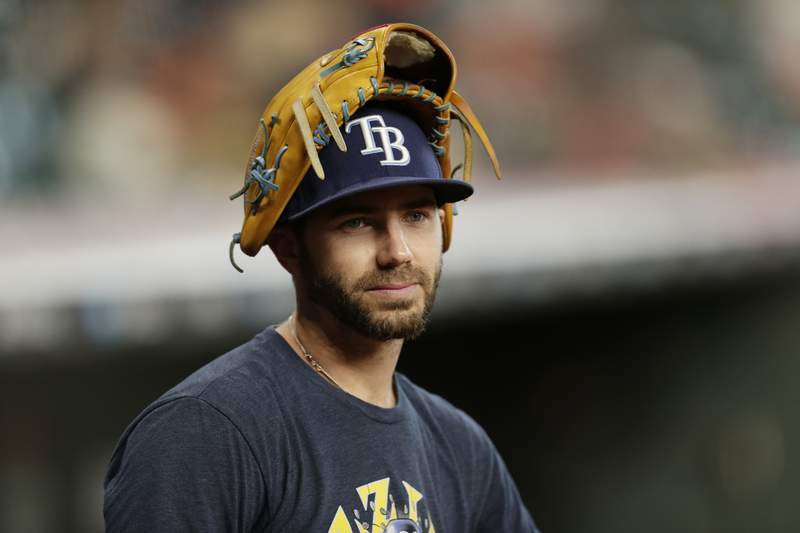 Tampa Bay Rays' Austin Pruitt before Game 5 of a baseball American League Division Series against the Houston Astros in Houston, Thursday, Oct. 10, 2019. (AP Photo/Michael Wyke)