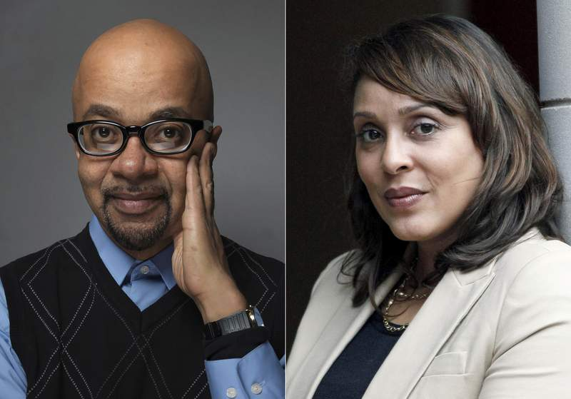 Author James McBride poses for a portrait during the 2012 Sundance Film Festival in Park City, Utah, on Jan. 23, 2012, left, and U.S. Poet Laureate Natasha Trethewey poses outside the president's office at Delta State University in Cleveland, Miss., on Sept. 18, 2012. McBride, Trethewey and science fiction great Samuel R. Delaney are among this years winners of Anisfeld-Wolf awards for books that confront racism and help promote diversity. (AP Photo)