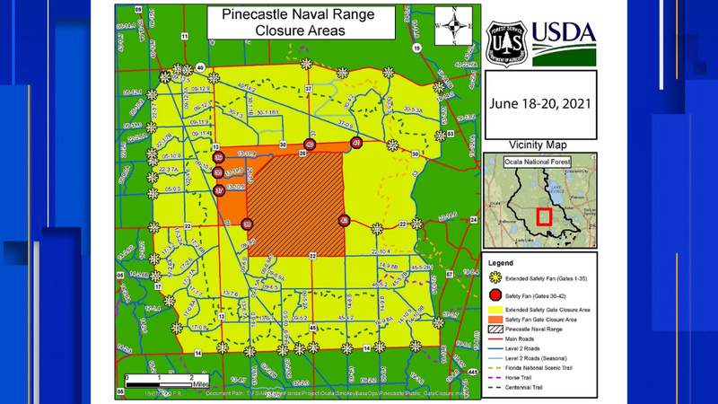 Map of closures caused by the Navy bomb training June 18-20
