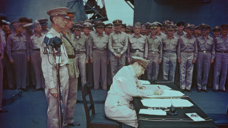 Scenes aboard the USS Missouri as Japan signed its official surrender documents to end World War II on Sept 2, 1945.