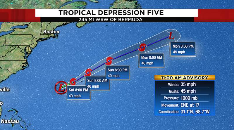 Tropical Depression Five developed Saturday morning. Will move away from Florida.