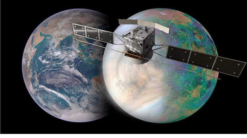 The image shows Earth (left) and Venus (right), and how similar they are in size. The EnVision mission (spacecraft render in image) aims to answer some of these key questions, and the NASA-provided EnVision Venus Synthetic Aperture Radar (VenSAR) will play a center role. The VenSAR will be built and operated by JPL. Credit: European Space Agency / Paris Observatory / VR2Planets