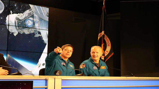 NASA astronauts Bob Behnken and Doug Hurley at Kennedy Space Center on March 2, 2019 after the sucessful first launch of the Crew Dragon. (Image: Emilee Speck/WKMG)
