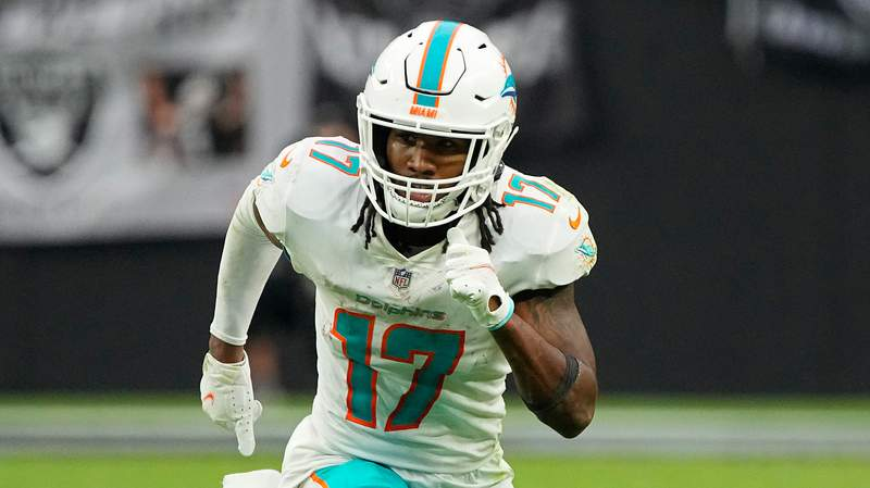 Miami Dolphins wide receiver Jaylen Waddle (17) during the second half of an NFL football game against the Las Vegas Raiders, Sunday, Sept. 26, 2021, in Las Vegas. (AP Photo/Rick Scuteri)