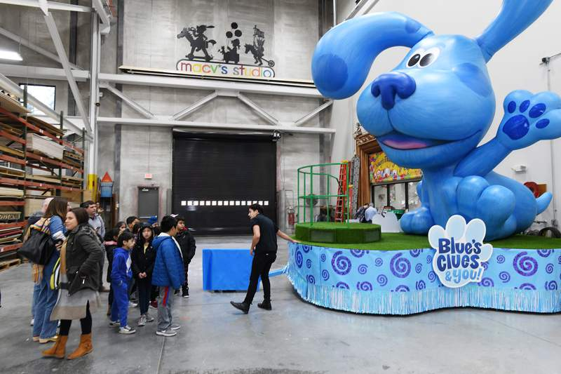 """A """"Blue's Clues"""" float in a parade. (Photo by Eugene Gologursky/Getty Images For Macy's Inc)"""