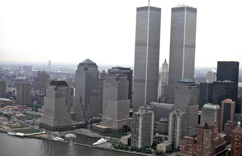 Aerial view of World Trade Center and the World Financial Center on May 15, 1992.