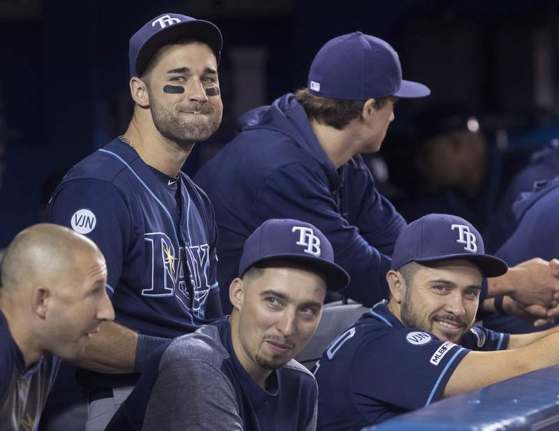 FILE - In this Sept. 28, 2019, file photo, Tampa Bay Rays' Kevin Kiermaier, top left, relaxes in the dugout with teammates in the fourth inning of a baseball game against the Toronto Blue Jays in Toronto. Major League Baseballs average salary as opening day approached remained virtually flat at around $4.4 million for the fifth straight season, according to a study of contracts by The Associated Press. (Fred Thornhill/The Canadian Press via AP, File)